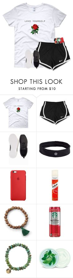 """"""""""" by hailstails ❤ liked on Polyvore featuring NIKE, lululemon, Batiste, Sydney Evan and Fuji"""
