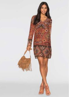 Bekijk nu:Modieuze, geweven jurk van het merk BODYFLIRT in trendy boho-look. Met kleine studs bij de hals. Lengte in mt. 38 ca. 90 cm.