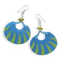 Turquoise capiz shell fashion earrings with green painted design and french wire hooks, flanked by a 9mm green shell bead with 1mm matte blue glass beads. $12, Item #W1187. Vendor Code: FAS90471.  http://www.925silvercatalog.com