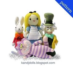 Alice in Wonderland, Mad Hatter, White Rabbit and Cheshire Cat -  PDF Amigurumi crochet patterns