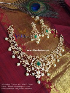 Vibha Jewellery And Collections Jewelry Design Earrings, Gold Earrings Designs, Gold Jewellery, Gems Jewelry, Necklace Designs, Jewelery, Gold Mangalsutra Designs, Indian Jewelry Sets, Bridal Jewelry