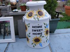 Sunflowers painting on old Milk Can