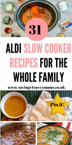 One Month of Aldi Slow Cooker Recipes: Family Meal Ideas on a Budget – Savings 4 Savvy Mums Here are 31 Aldi slow cooker recipes that are budget friendly and easy to cook. Perfect for leftovers too and some are under by Laura at Savings 4 Savvy Mums Slow Cooker Recipes Family, Family Meals, Crockpot Recipes, Healthy Recipes, Save Money On Groceries, Budget Meals, Budget Recipes, Food Themes, Meals For Two