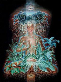 Jan Betts: Expat Visionary Artist Thriving and Painting in the Tropical Wilderness of Costa Rica - EFAM Psychedelic Art, Fantasy Kunst, Fantasy Art, Art Visionnaire, Psy Art, Goddess Art, Inspiration Art, Visionary Art, Sacred Art