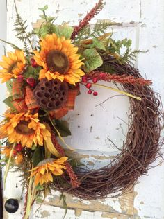 Fall Wreath- Sunflower Wreath, Front Door Wreath, Autumn Wreath, Fall Wreath for Front Door, Rustic wreath, Housewarming Gift by FlowerPowerOhio on Etsy