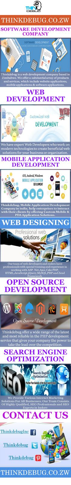 Your website is the representation of your business or organization to the world. We develop the website or portal with complex functions and makes your ideas into a #web_application. At our #web_Development_Company in #Zimbabwe offers you wide range of web design & development services in PHP, Angular.Js, Meteor.Js secured web applications etc.,  More visit: http://thinkdebug.co.zw