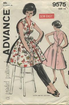 Vintage Apron Sewing Pattern | Advance 9575 | Year 1960 | Bust 34 | Waist 26 | Hip 36