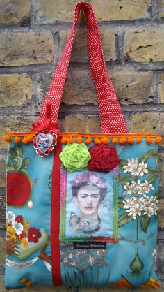 "Frida Kahlo Valentine Day bag with detachable ""Love Kills Brooch"" Embellished…"