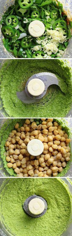 Easy Spicy Green Hummus: w/ chick peas, tahini, jalapeno, lemon juice, olive oil, garlic, cilantro, and parsley.  http://tasteandsee.com
