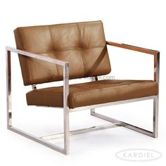 Kardiel Modern 1950 Aniline Leather and Stainless Steel Cube Chair (Canyon Aniline Leather), Brown Mid Century Modern Living Room, Mid Century Modern Furniture, Cube Chair, Comfortable Living Room Chairs, Home Goods Store, Cube Design, Cool Furniture, Outdoor Chairs, Accent Chairs