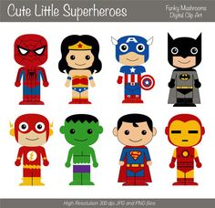 $3.52 Digital clipart - Cute little Superheroes for Scrapbooking, Paper grafts, Cards Making,Invitations,Web Designs - INSTANT DOWNLOAD