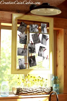DIY:: Rustic Photo Display Wall Frame  ! So Inexpensive And Looks Great ! ( Chicken Wire+ Old Frame !) Full Tutorial