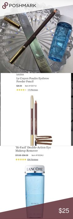 NWT! Lancôme Eyebrow Pencil in Sable & Bi-Facil NWT! Lancôme Le Crayon Poudre Brow Expert in Sable BNIB! Built In Spoolie on Other End. Also Included Lancôme Bi-Facil Travel. TOTAL VALUE $42.00. Lancome Makeup Eyebrow Filler