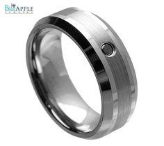High Polish Beveled Edge Brushed Center matt finish 0.07ct Jet Black CZ Center Stone 8mm Men's Wedding Engagement Anniversary Comfort Ring