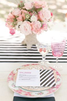 Black & White Stripes + Pink Vintage Touches. See more of this wedding inspiration shoot on #smp right here:  http://www.StyleMePretty.com/southeast-weddings/2014/04/18/raspberry-striped-wedding-inspiration -  AmalieOrrangePhotography.com   Inspiration Design by Table6Productions.com