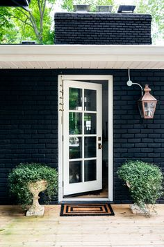 black painted brick exterior