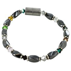 Brown Tiger Eye Bi-cone Magnetic Hematite Necklace Bracelet Anklet Therapeutic