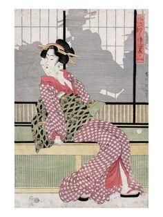 Three Beauties Enjoying the Evening Cool, Japanese Wood-Cut Print Poster tekijänä Lantern Press AllPosters.fi-sivustossa