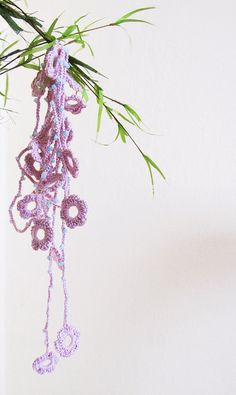 Handmade Pink lariat Necklace beadwork scarf by selenayselenay,
