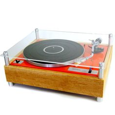 Rebuilt Record Player Orange orange, brown, modern commissary
