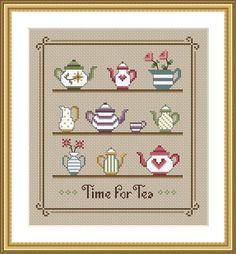 Time For Tea Cross Stitch Sampler PDF Chart by littledovesamplers on Etsy https://www.etsy.com/listing/191013945/time-for-tea-cross-stitch-sampler-pdf