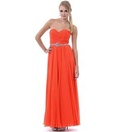 Orange Gathered Center & Gem Sweetheart Strapless Long Dress #uniquevintage