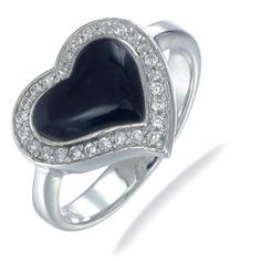 Heart Shape Black Onyx Ring In Sterling Silver (Available in Sizes 5 - 9) - Fashion Jewelry