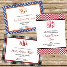 Monogrammed College Graduation Announcements - can be customized for any school