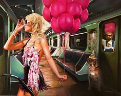 Party in the subway with paris hilton.  The Bold & Beautiful – an hilarious serie of paintings by the Spanish artist, Tos Kostermans. The realistic paintings give a humorous and hilarious look at contemporary life.