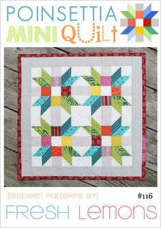 Fresh Lemons Quilts — Poinsettia Mini Quilt Pattern - PDF