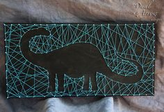Untitled. Dinosaur string art. A brontosaurus done on a black board with teal string.