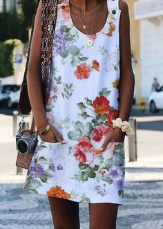 Crew Neck Casual Floral-Print Sleeveless Dresses | Dresses | Anniecloth White Accessories Summer Polyester Casual Accessories | anniecloth Casual Dress Outfits, Casual Summer Dresses, Simple Dresses, Casual Dresses For Women, Simple Dress Pattern, Skirt Mini, Fashion Dresses, Plus Fashion, Types Of Sleeves