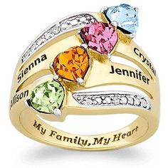 """Mothers Day ring with names, birthstones and diamonds.  Love the heart-shaped birthstones!  Inside is inscribed """"My Family, My Heart""""."""