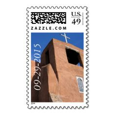 Share the joy of your faith as you announce your wedding date w/ this custom US postage stamp. Shown is San Miguel Spanish colonial mission church in Santa Fe, NM, considered to be the oldest church in the USA. May your Union endure the way this iconic church has! .
