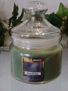16 oz Apothecary Jar Soothing Scent Candle by Unique Aromas. $26.93. Price per jar candle. Soothing scent. Candle color may vary from photograph. This candle is sure to bring joy and warmth to all those in the presence of it.Some assembly may be required. Please see product details.Some assembly may be required. Please see product details.