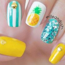 Easy Summer Pineapple Nails Youtube Summer Nails