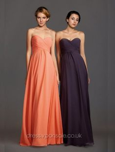 Sweetheart Plicated Long Bridesmaid Dress £84.48 - Irresistible glamour and beauty.  Sweetheart bodice features pliacted ruchings. Long flaring skirt looks quite stunning.