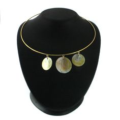 QVC Rare Joan Rivers Yellow Gold GP Floating Shells on Hardwire Necklace N798 #JoanRivers #Wire