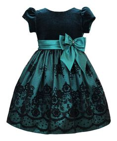 Loving this Green & Black Floral Bow Dress - Infant, Toddler & Girls on #zulily! #zulilyfinds