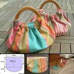 Wooden Handle Bag, Wooden Handles, Wooden Bag, Diy Bags Purses, Purses And Handbags, Diy Bags Jeans, Purses Boho, Coin Purses, Diy Bags No Sew
