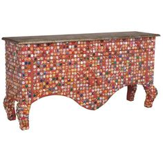 Artsy Bottlecap Credenza ($2,795) ❤ liked on Polyvore featuring home, furniture, storage & shelves, house, table, storage furniture, wood credenza, drawer furniture, storage credenza and home storage furniture