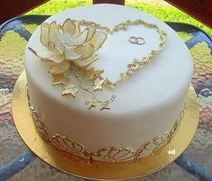 Elegant Birthday Cakes, Cute Birthday Cakes, Elegant Wedding Cakes, Wedding Cake Designs, Golden Anniversary Cake, 50th Wedding Anniversary Cakes, Anniversary Cake Designs, Fondant Cake Designs, Heart Shaped Cakes