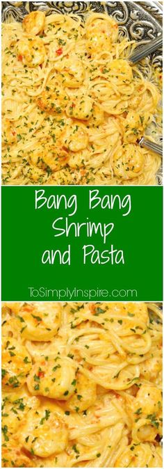 Bang Bang Shrimp and Pasta has the most scrumptious, creamy sauce. Plus it's ready in about 20 minutes!This Bang Bang Shrimp and Pasta has the most scrumptious, creamy sauce. Plus it's ready in about 20 minutes! Fish Recipes, Seafood Recipes, Great Recipes, Dinner Recipes, Cooking Recipes, Favorite Recipes, Healthy Recipes, Seafood Pasta, Seafood Bake