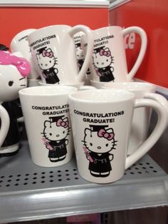 Happy Graduation Graduate Hello Kitty Style. I want them for my daugther's pre-k graduation!
