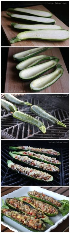 Grilled Stuffed Zucchini.  After making this with mexican vegan sausage I am hooked.  Fresh veggies from our garden played a huge part.  Yum yum!