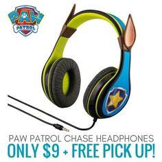 Paw Patrol Headphone Chase Kids Headphones only $9!