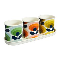 Discover the Orla Kiely 3 Herb Pots with Tray - 70s Flower Oval at Amara