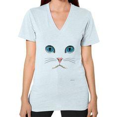 Cat Face V-Neck (on woman) Shirt