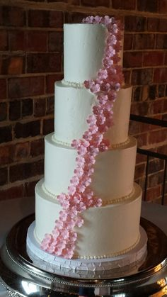Pretty Pink Floral Wedding Cake by Short North Piece of Cake in Columbus Ohio.