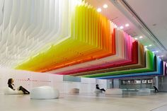With our fascination with both minimalism and colour, we've kept an eye on Emmanuelle Moureaux, the French-born and Tokyo-based architect famous for her use of candy-hued colours in many of her projects. Since 2003, she's run her own Architecture and design firm in Tokyo. Her solo exhibition, '100 Colours' is currently on at the Shinjuku … Blog Design, Design Art, Japanese Paper, Japanese Store, Paper Installation, Ceiling Installation, Art Installations, Ceiling Design, Architecture Design